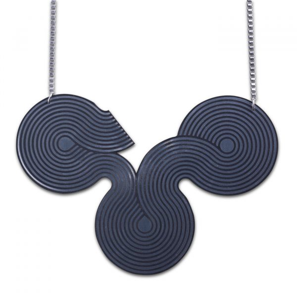 Disco Curve Necklace - Silver and Black