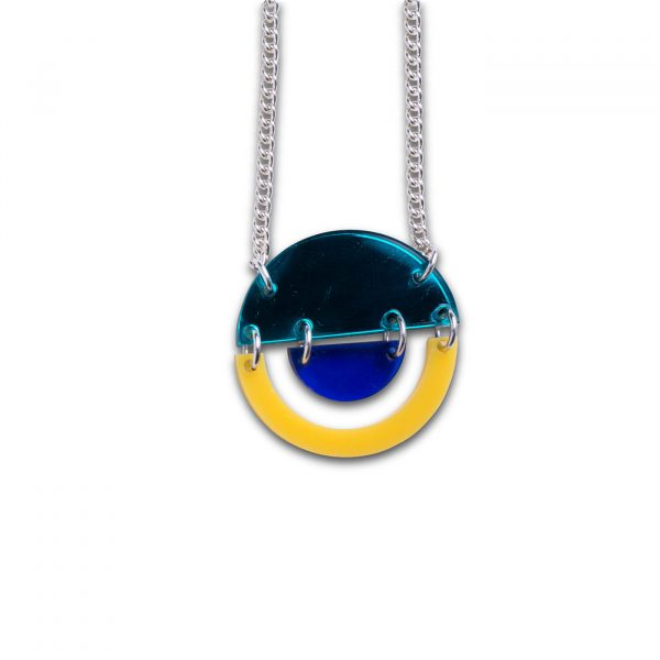 Stax Circle Pendant - Mirrored Turquoise