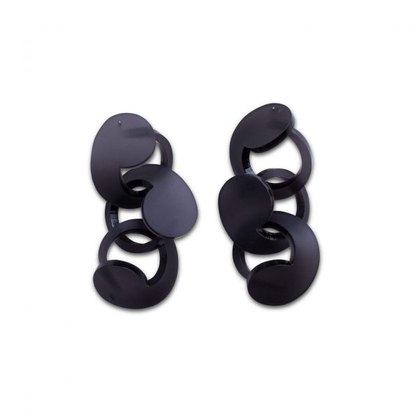 Spiral Drop Earrings Frosted Black