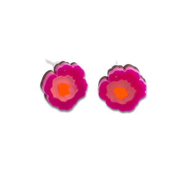 Wowie Zowie Stud Earrings - Hot Pink