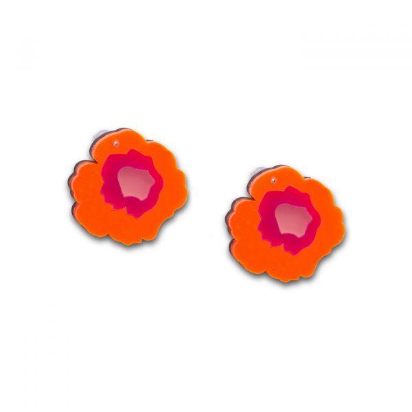 Wowie Zowie Stud Earrings - Neon Orange