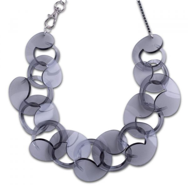Oversize Spiral Necklace Trans Grey