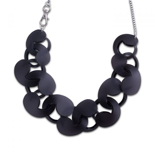 Oversize Spiral Necklace Frosted Black