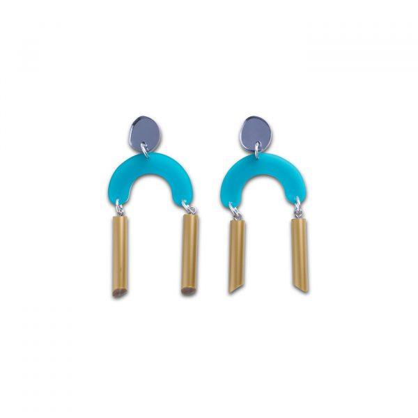 Deco Flex Earrings - Teal & Gold
