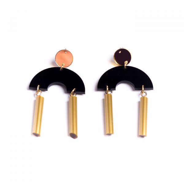 Deco Flex Earrings - Black & Gold